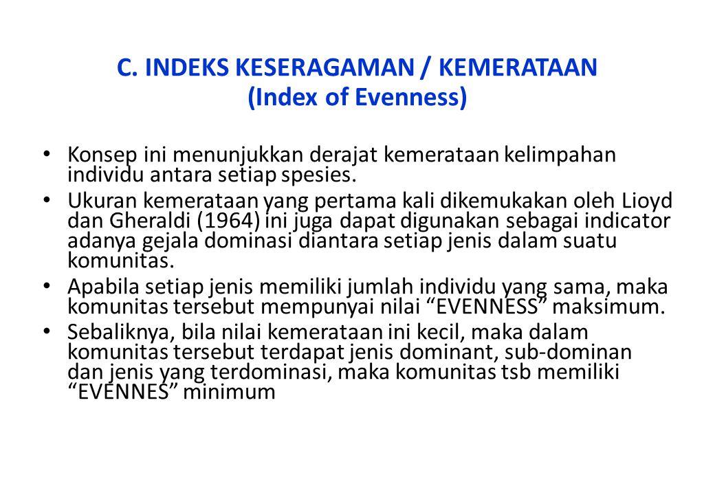 C. INDEKS KESERAGAMAN / KEMERATAAN
