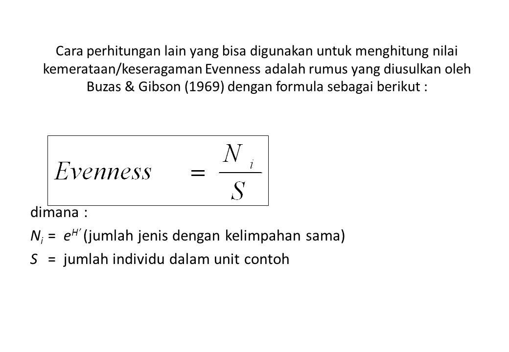 Ni = eH' (jumlah jenis dengan kelimpahan sama)