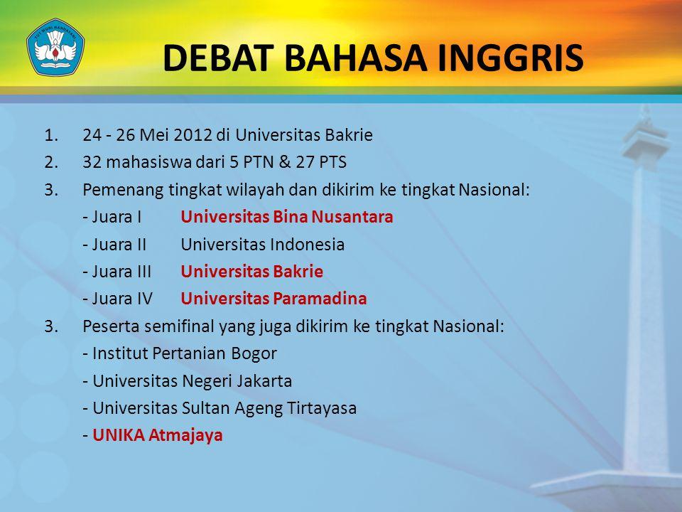 DEBAT BAHASA INGGRIS 24 - 26 Mei 2012 di Universitas Bakrie