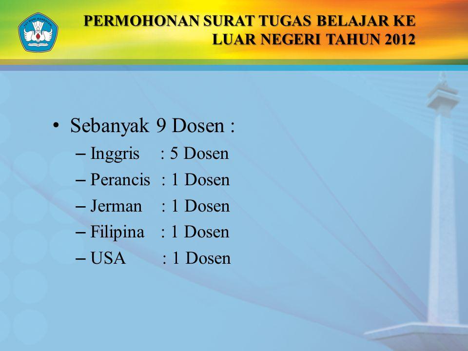 PERMOHONAN SURAT TUGAS BELAJAR KE LUAR NEGERI TAHUN 2012