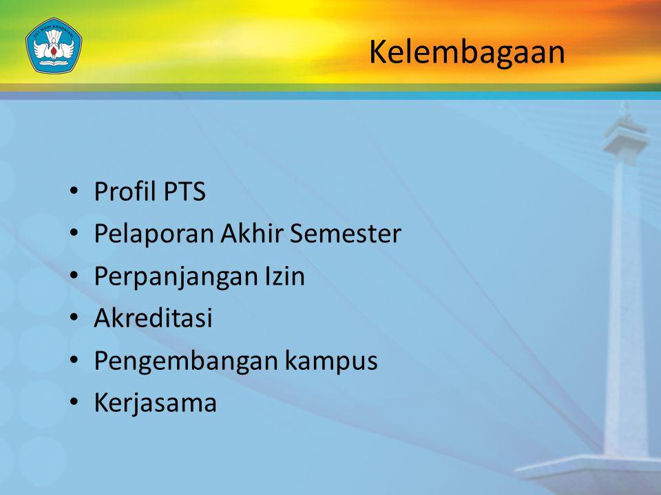 Kelembagaan Profil PTS Pelaporan Akhir Semester Perpanjangan Izin