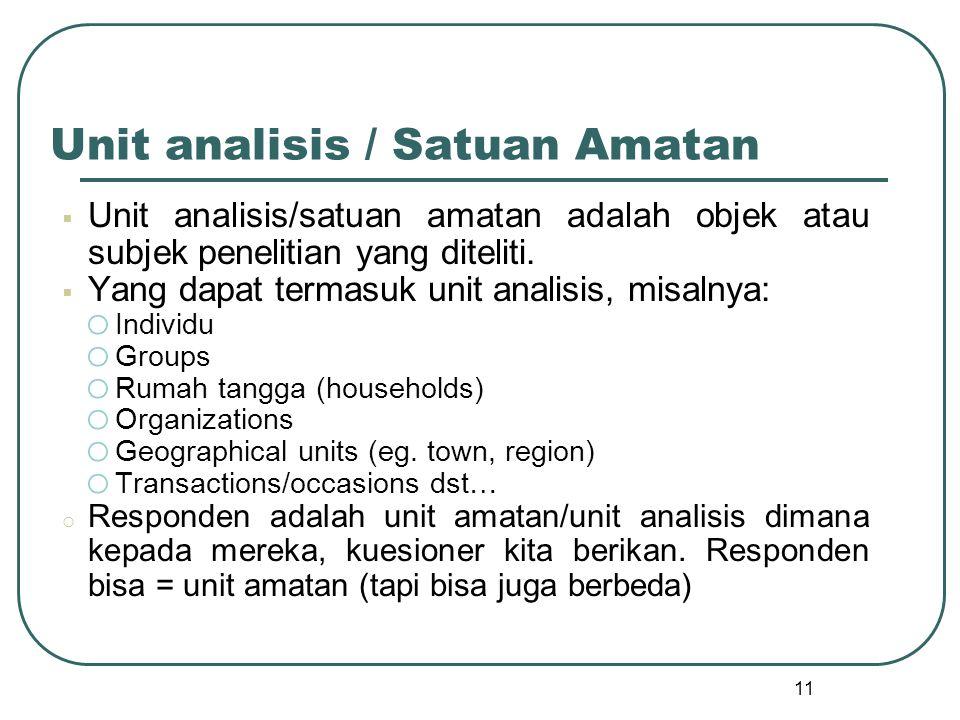 Unit analisis / Satuan Amatan