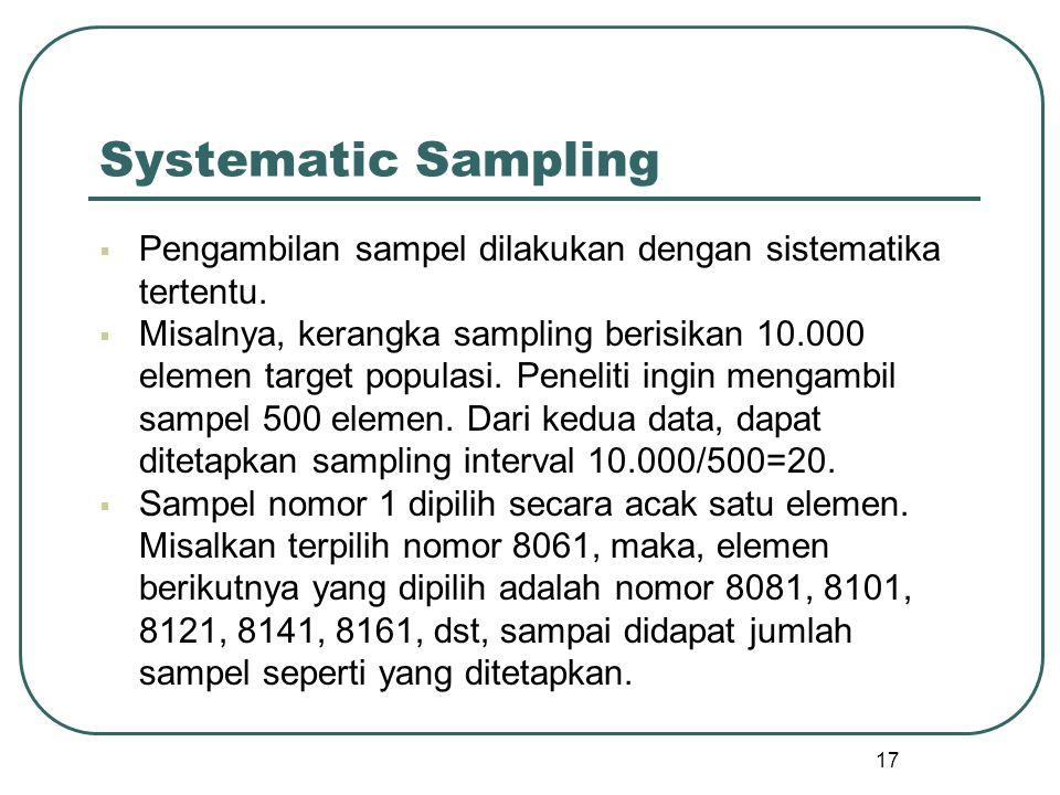Systematic Sampling Pengambilan sampel dilakukan dengan sistematika tertentu.