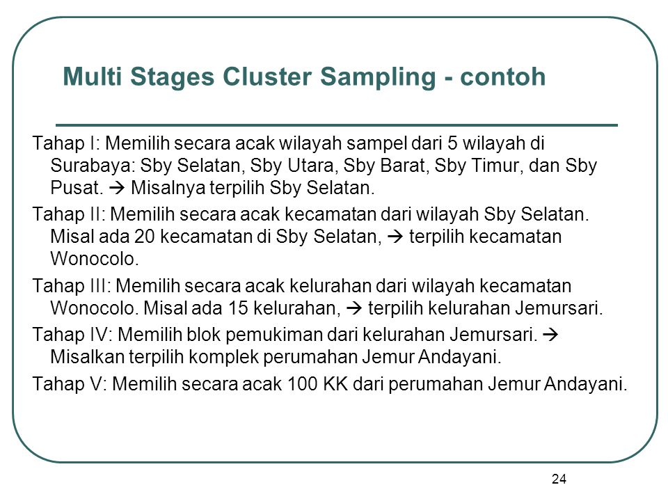 Multi Stages Cluster Sampling - contoh