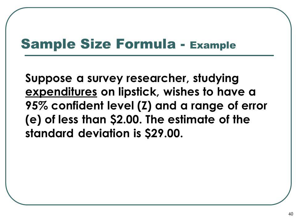 Sample Size Formula - Example