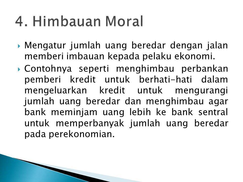 4. Himbauan Moral Mengatur jumlah uang beredar dengan jalan memberi imbauan kepada pelaku ekonomi.