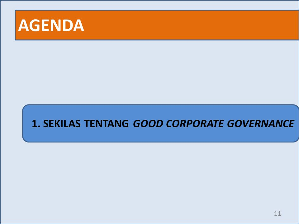 AGENDA 1. SEKILAS TENTANG GOOD CORPORATE GOVERNANCE