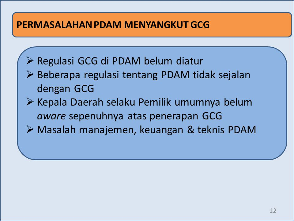Regulasi GCG di PDAM belum diatur