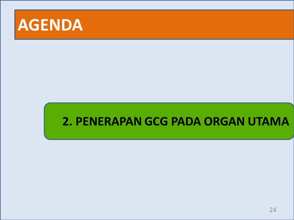 AGENDA 2. PENERAPAN GCG PADA ORGAN UTAMA
