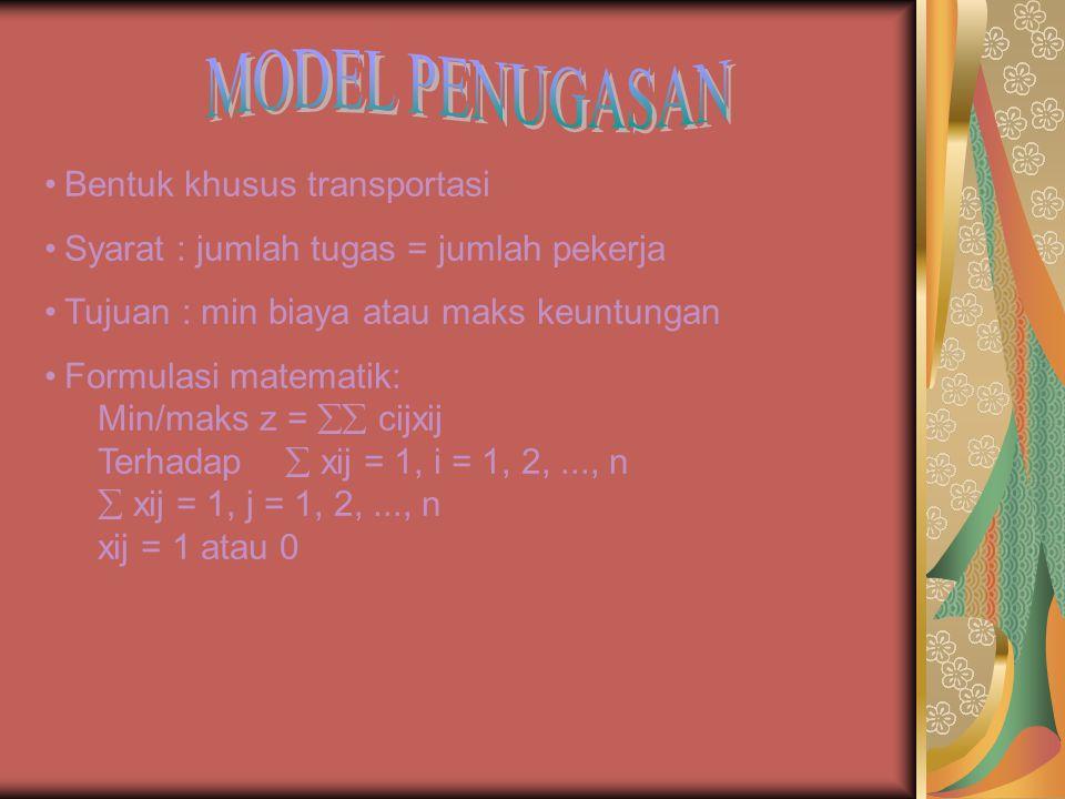 MODEL PENUGASAN Bentuk khusus transportasi