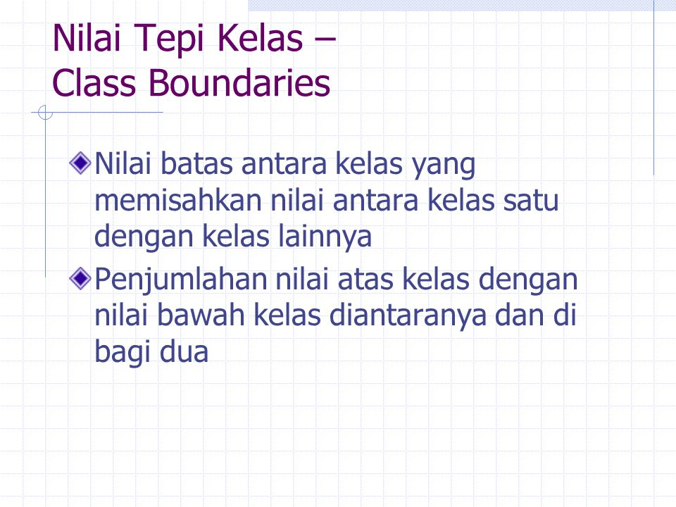 Nilai Tepi Kelas – Class Boundaries