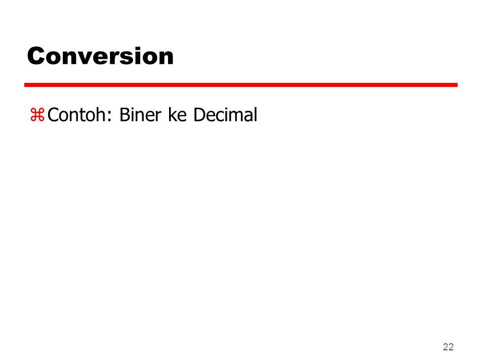 Conversion Contoh: Biner ke Decimal 22