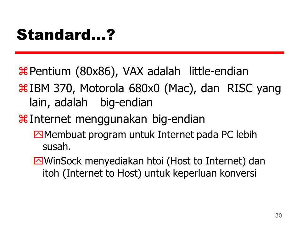 Standard… Pentium (80x86), VAX adalah little-endian