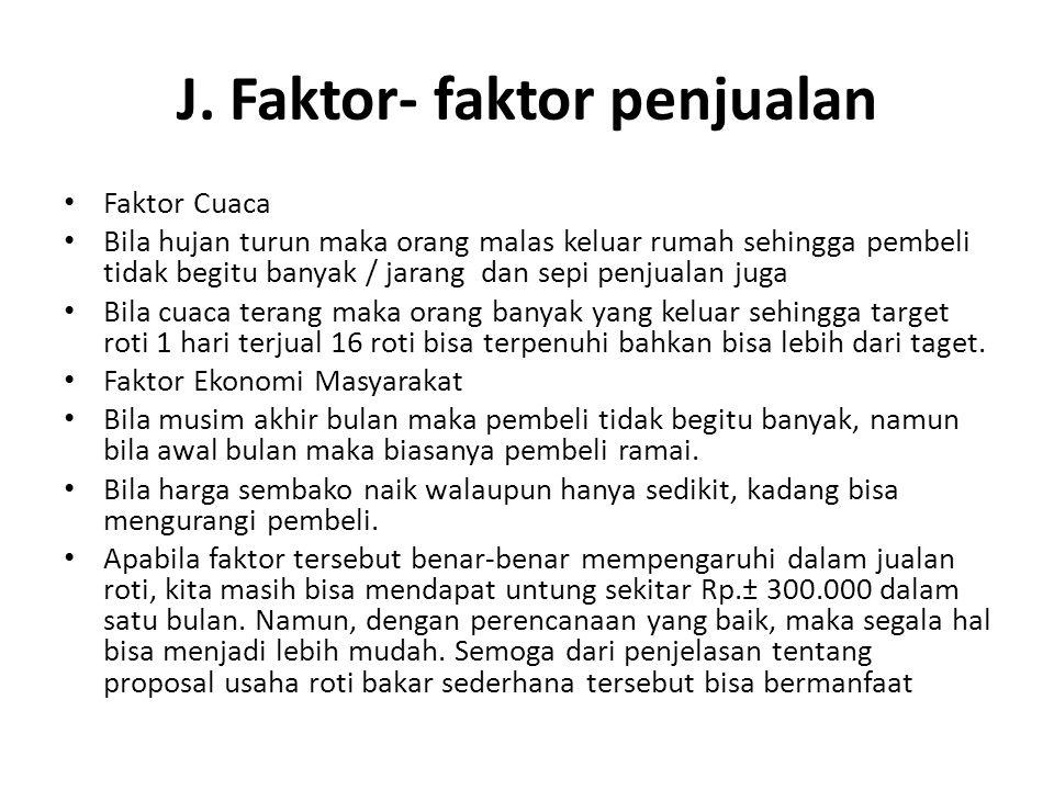 J. Faktor- faktor penjualan