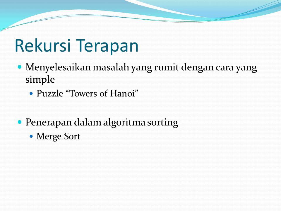 Rekursi Terapan Menyelesaikan masalah yang rumit dengan cara yang simple. Puzzle Towers of Hanoi