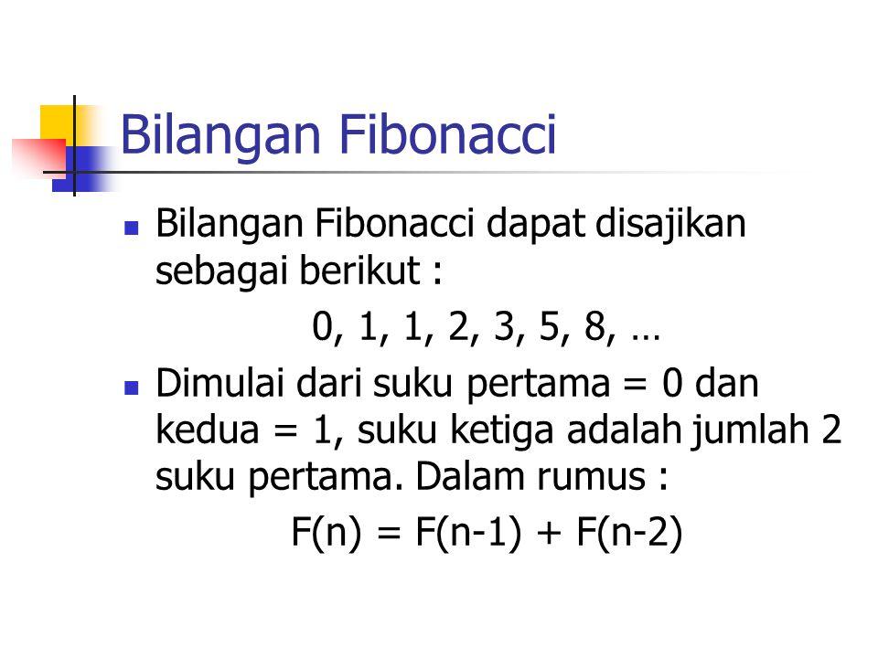 Bilangan Fibonacci Bilangan Fibonacci dapat disajikan sebagai berikut : 0, 1, 1, 2, 3, 5, 8, …