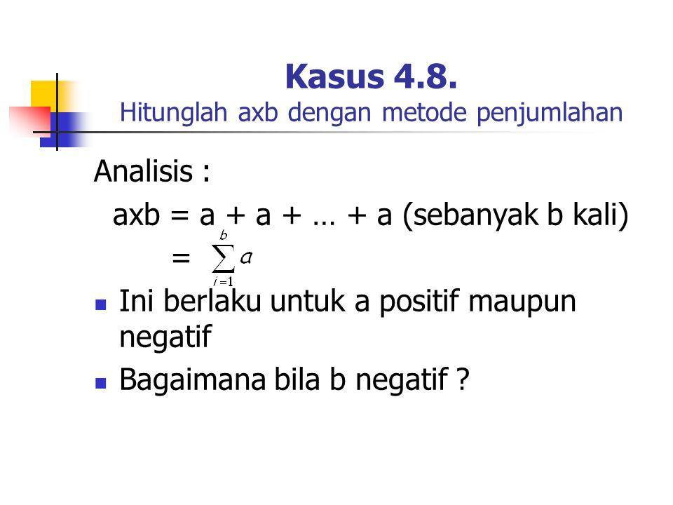 Kasus 4.8. Hitunglah axb dengan metode penjumlahan