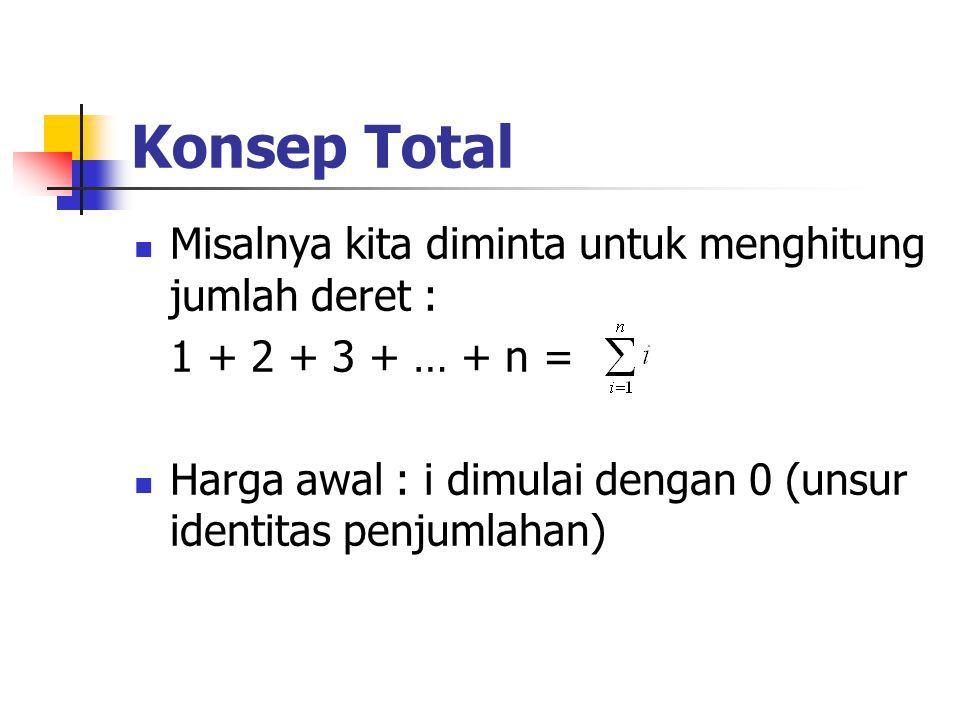 Konsep Total Misalnya kita diminta untuk menghitung jumlah deret :