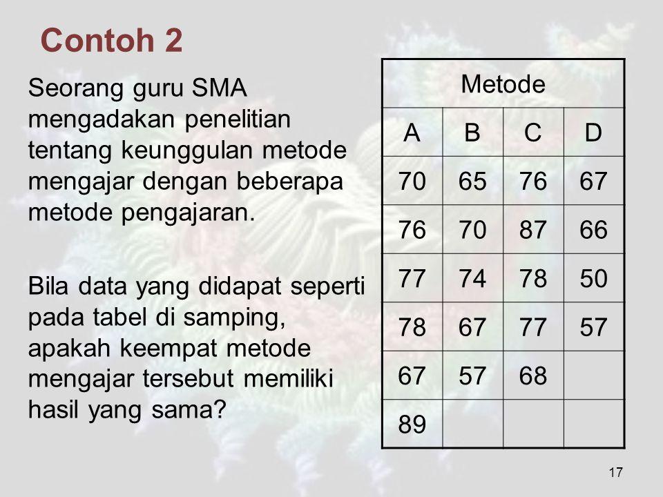 Contoh 2 Metode. A. B. C. D. 70. 65. 76. 67. 87. 66. 77. 74. 78. 50. 57. 68. 89.