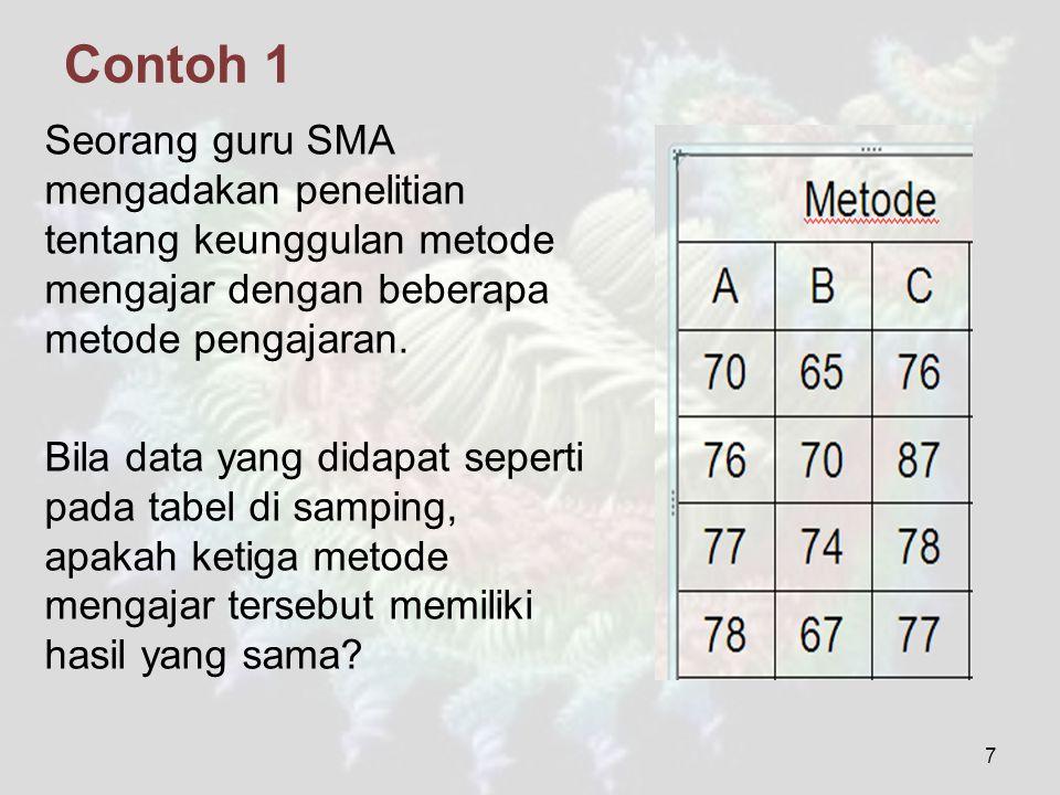 Contoh 1 Seorang guru SMA mengadakan penelitian tentang keunggulan metode mengajar dengan beberapa metode pengajaran.