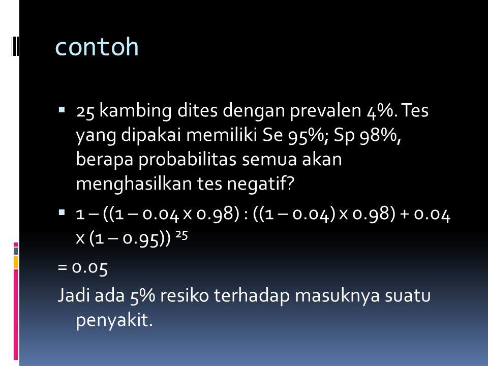 contoh 25 kambing dites dengan prevalen 4%. Tes yang dipakai memiliki Se 95%; Sp 98%, berapa probabilitas semua akan menghasilkan tes negatif