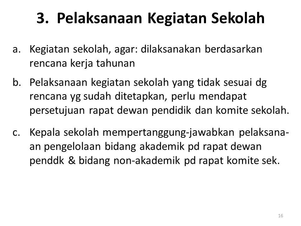 3. Pelaksanaan Kegiatan Sekolah
