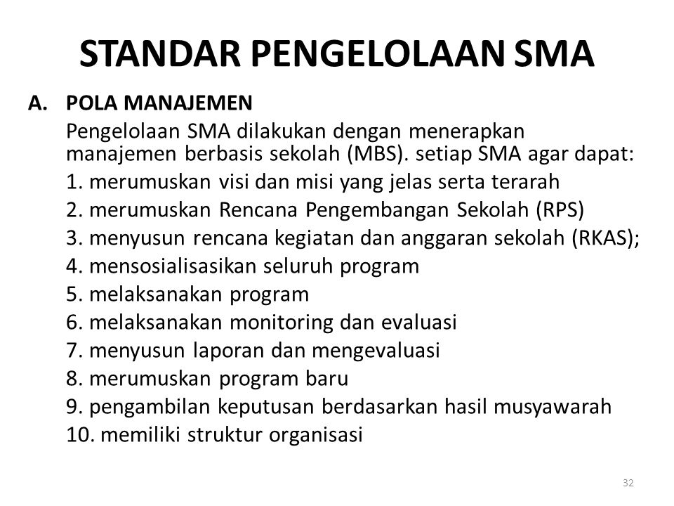 Standar Pengelolaan SMA