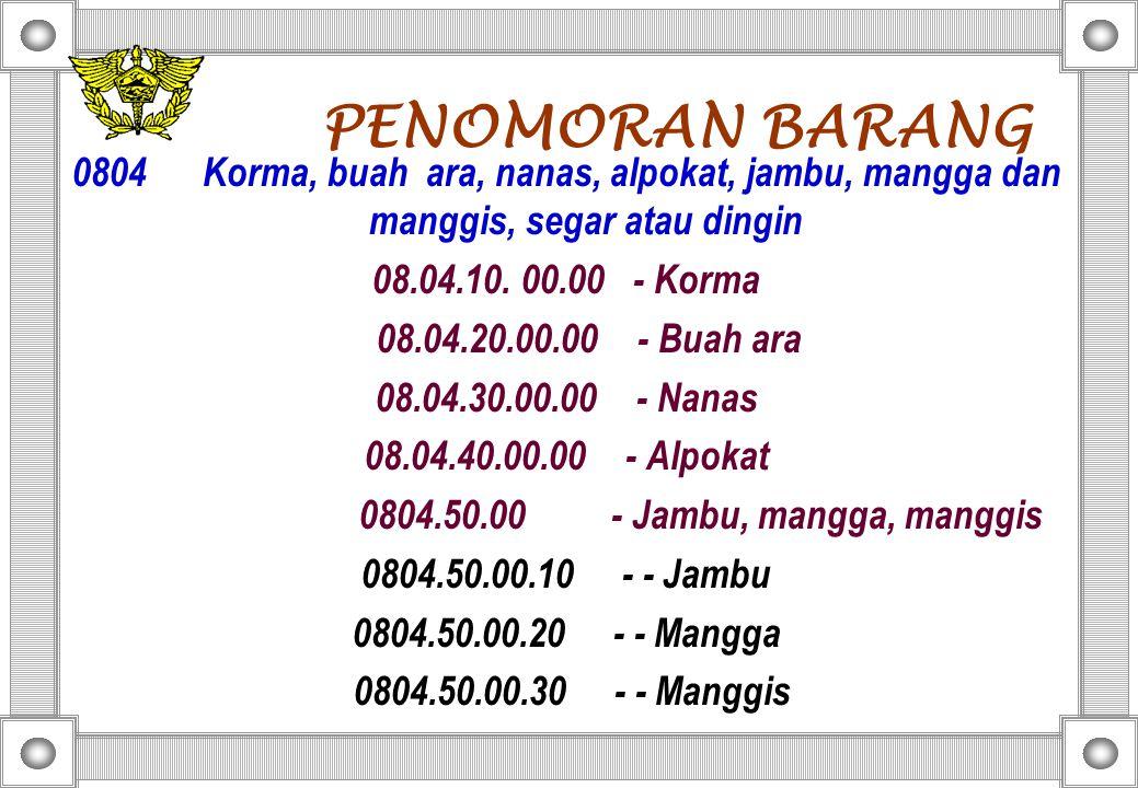 PENOMORAN BARANG 0804 Korma, buah ara, nanas, alpokat, jambu, mangga dan manggis, segar atau dingin.