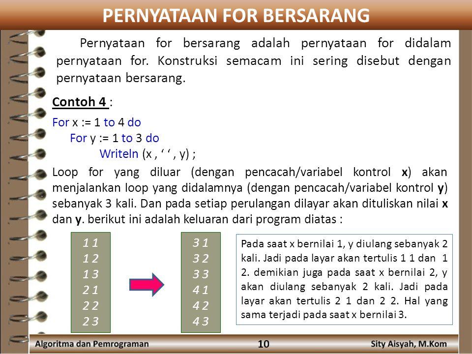 PERNYATAAN FOR BERSARANG