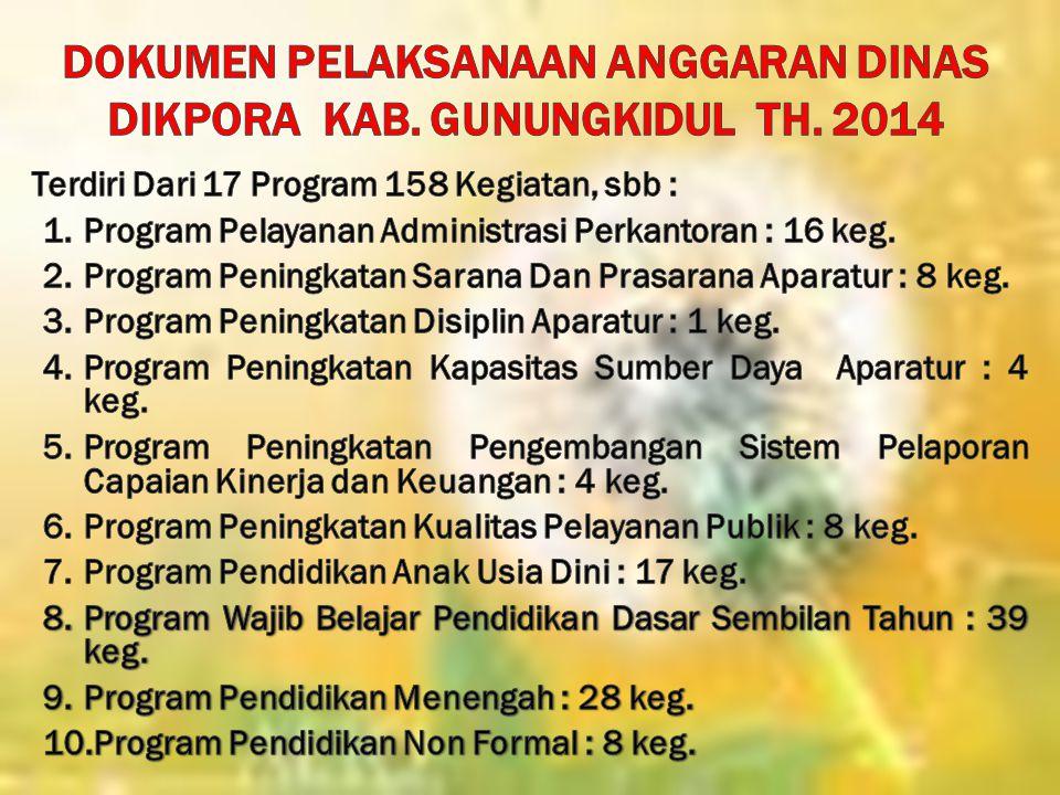 DOKUMEN PELAKSANAAN ANGGARAN DINAS DIKPORA Kab. Gunungkidul Th. 2014