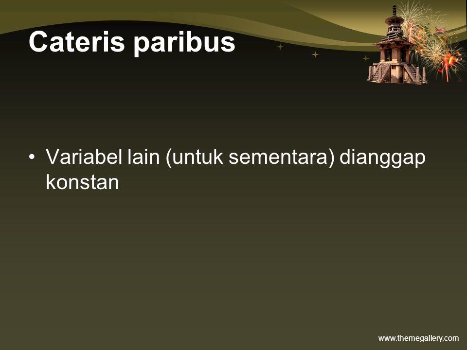 Cateris paribus Variabel lain (untuk sementara) dianggap konstan