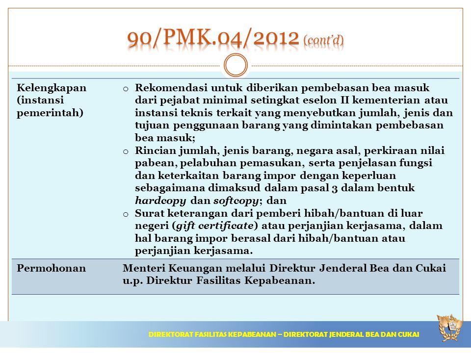 90/PMK.04/2012 (cont'd) Kelengkapan (instansi pemerintah)