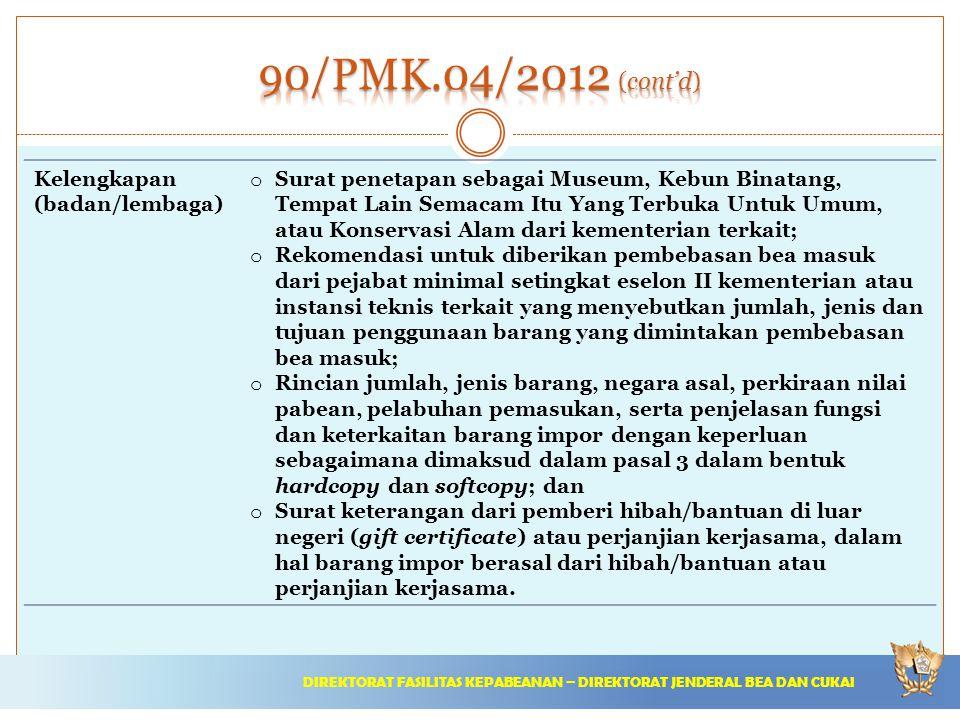 90/PMK.04/2012 (cont'd) Kelengkapan (badan/lembaga)