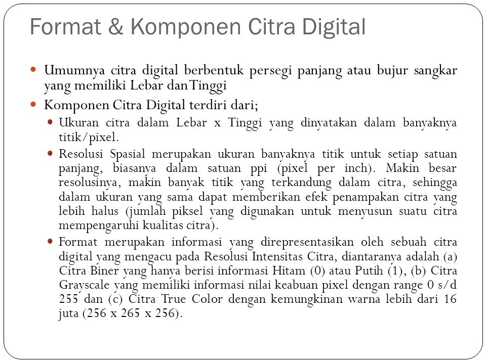 Format & Komponen Citra Digital