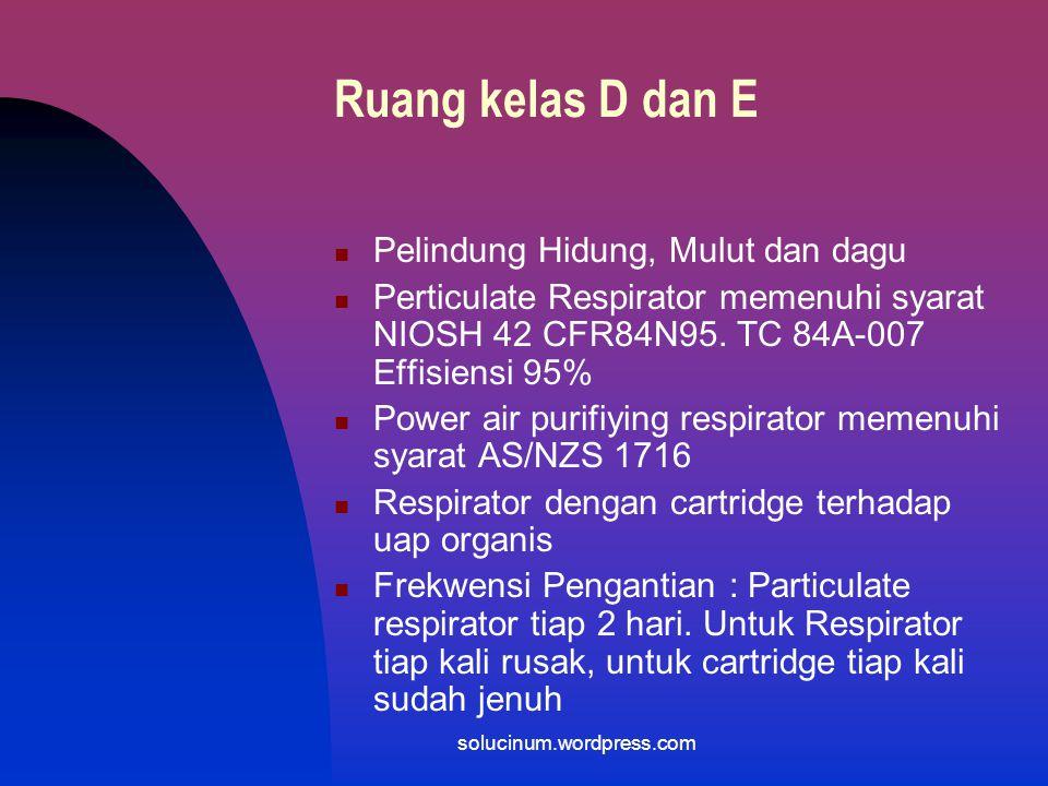 Ruang kelas D dan E Pelindung Hidung, Mulut dan dagu