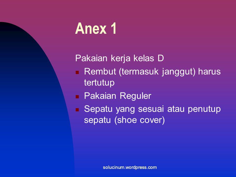 Anex 1 Pakaian kerja kelas D Rembut (termasuk janggut) harus tertutup