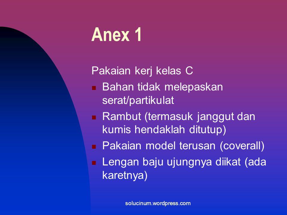 Anex 1 Pakaian kerj kelas C Bahan tidak melepaskan serat/partikulat
