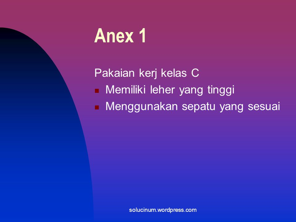 Anex 1 Pakaian kerj kelas C Memiliki leher yang tinggi