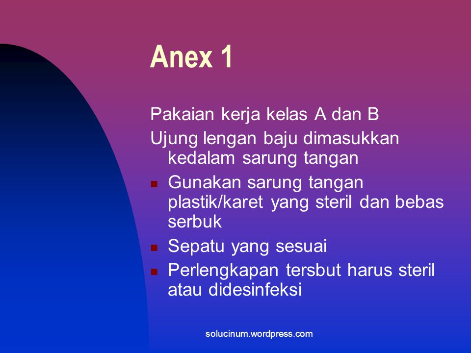 Anex 1 Pakaian kerja kelas A dan B