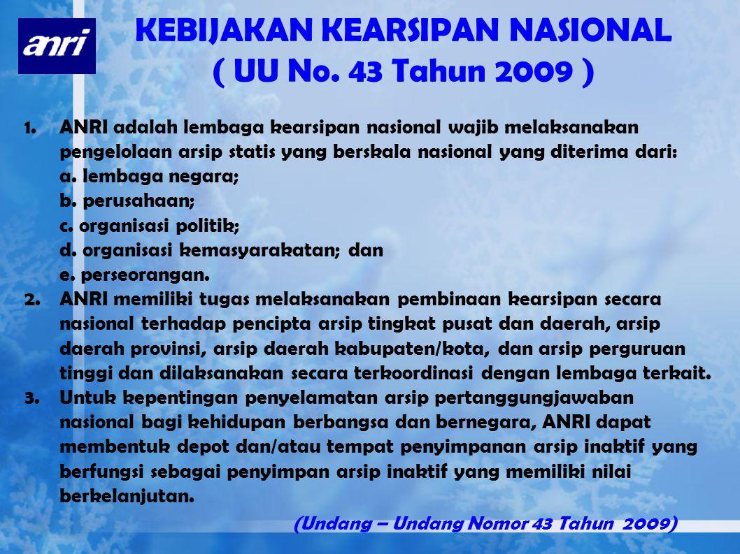 KEBIJAKAN KEARSIPAN NASIONAL ( UU No. 43 Tahun 2009 )