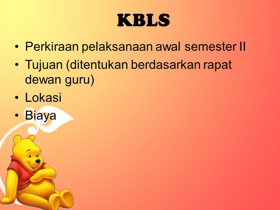 KBLS Perkiraan pelaksanaan awal semester II