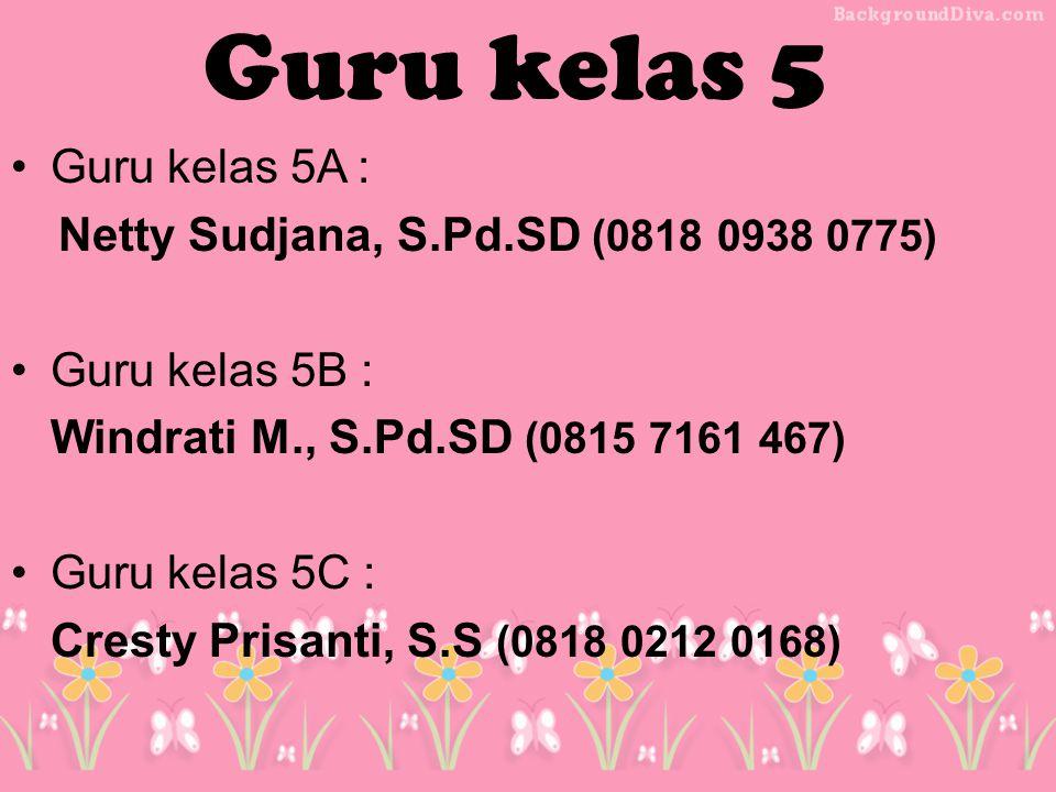Guru kelas 5 Guru kelas 5A : Netty Sudjana, S.Pd.SD (0818 0938 0775)