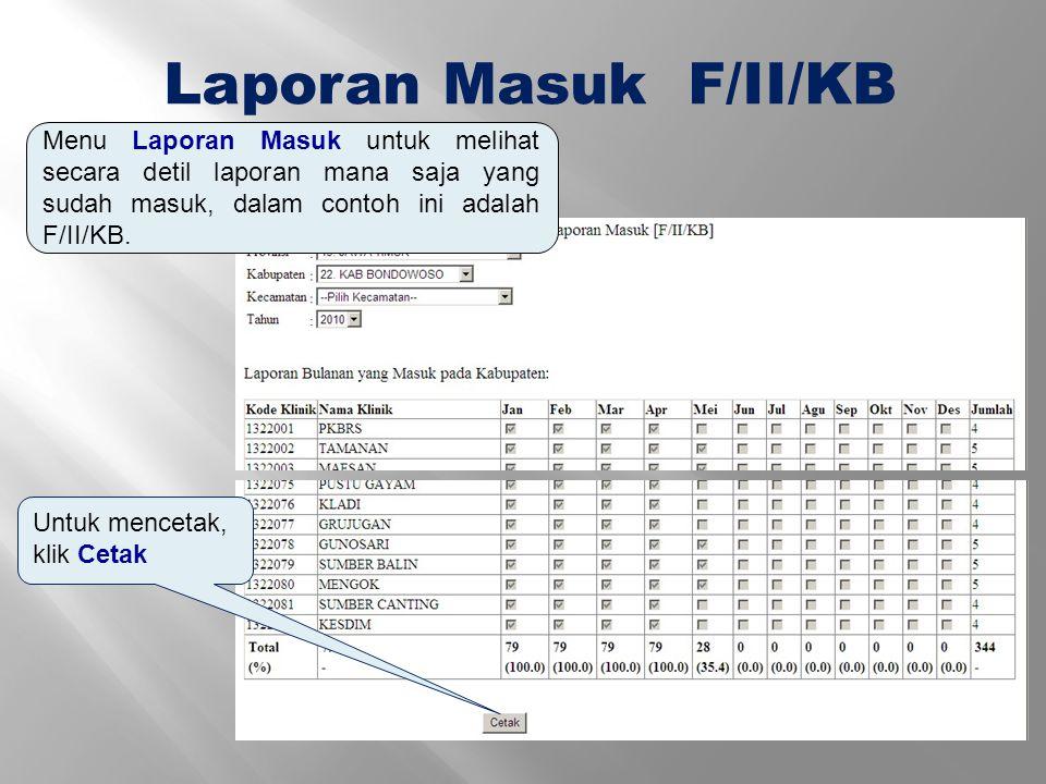 Laporan Masuk F/II/KB Menu Laporan Masuk untuk melihat secara detil laporan mana saja yang sudah masuk, dalam contoh ini adalah F/II/KB.