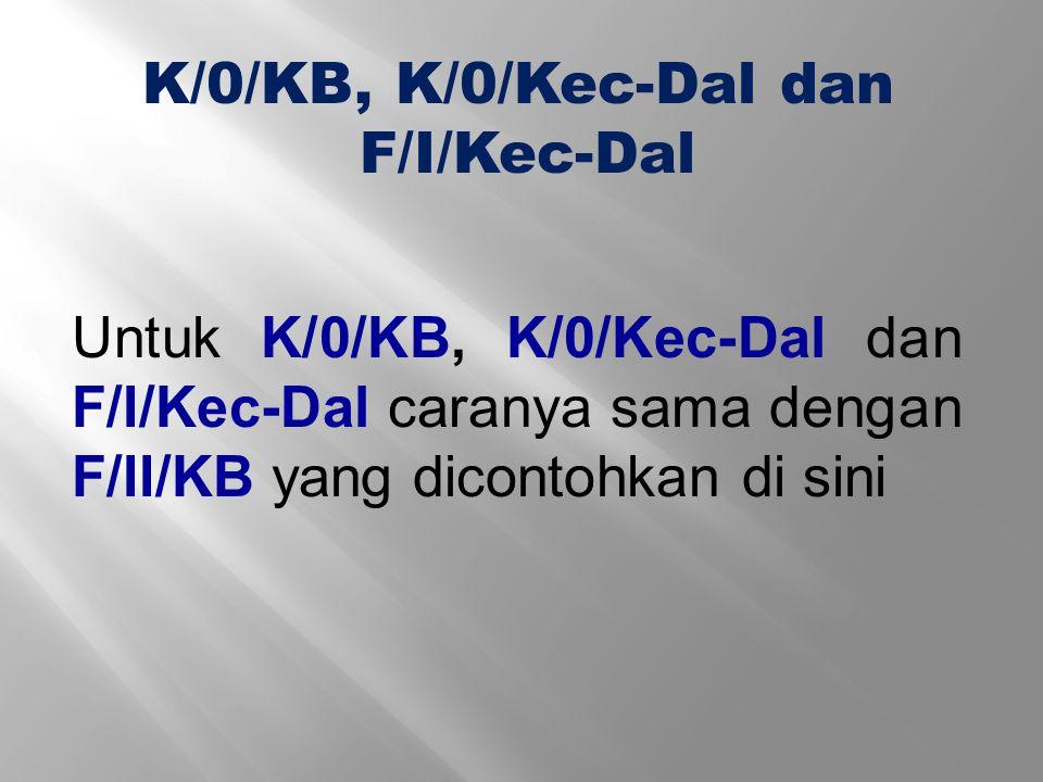 K/0/KB, K/0/Kec-Dal dan F/I/Kec-Dal.