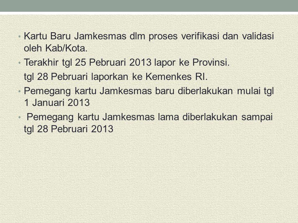 Kartu Baru Jamkesmas dlm proses verifikasi dan validasi oleh Kab/Kota.