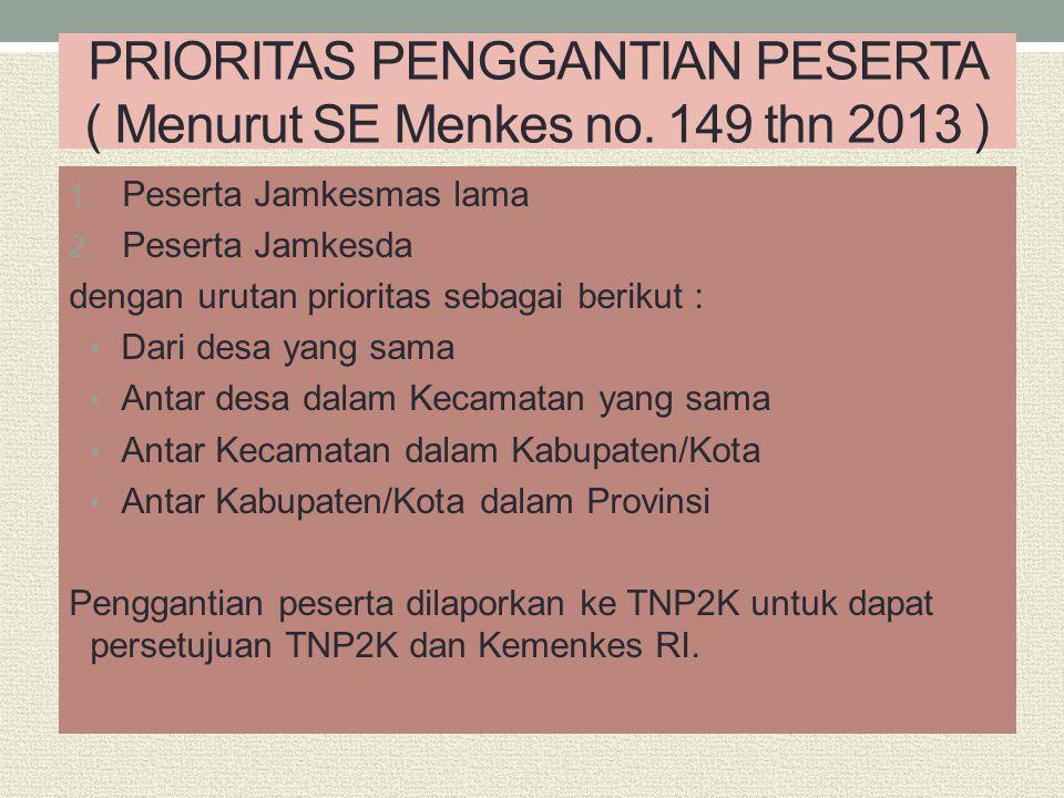 PRIORITAS PENGGANTIAN PESERTA ( Menurut SE Menkes no. 149 thn 2013 )