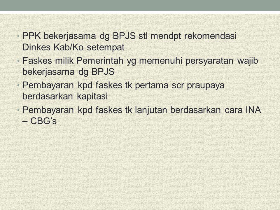 PPK bekerjasama dg BPJS stl mendpt rekomendasi Dinkes Kab/Ko setempat