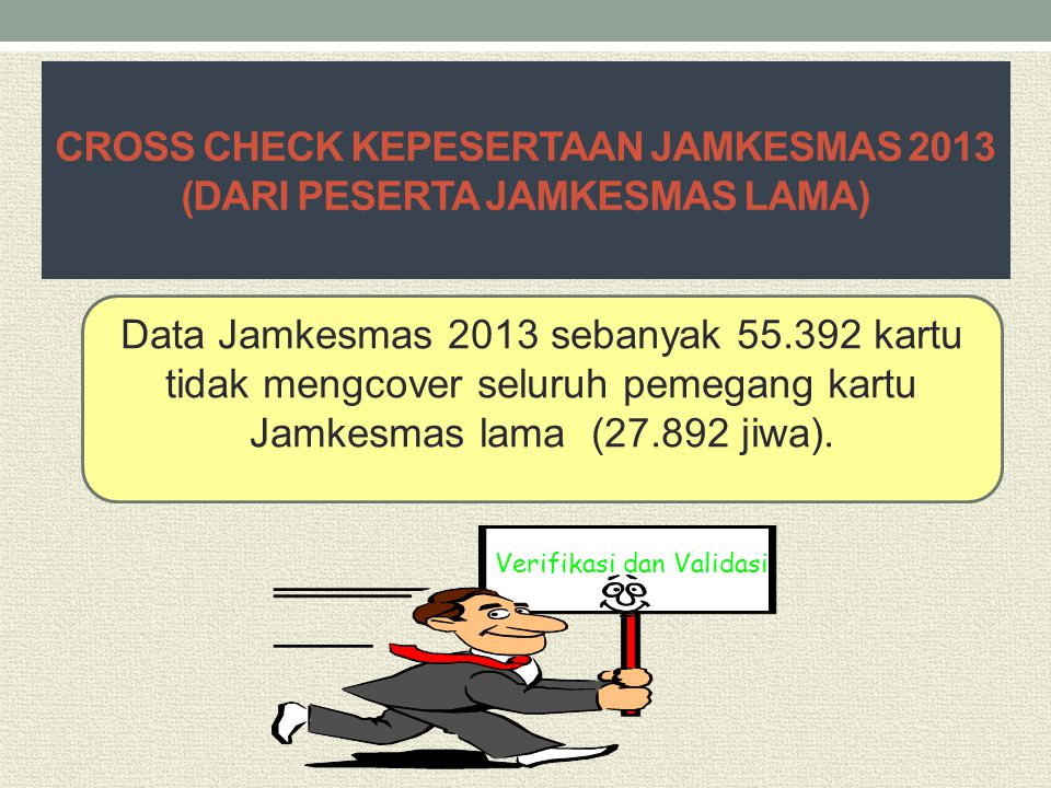 CROSS CHECK KEPESERTAAN JAMKESMAS 2013 (DARI PESERTA JAMKESMAS LAMA)