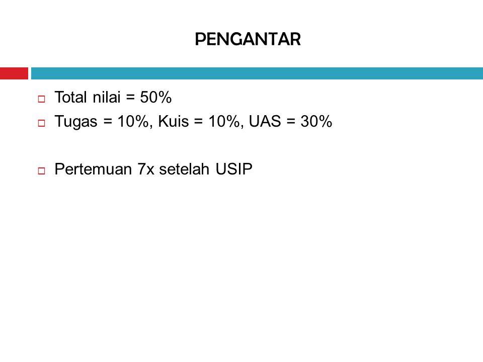 PENGANTAR Total nilai = 50% Tugas = 10%, Kuis = 10%, UAS = 30%