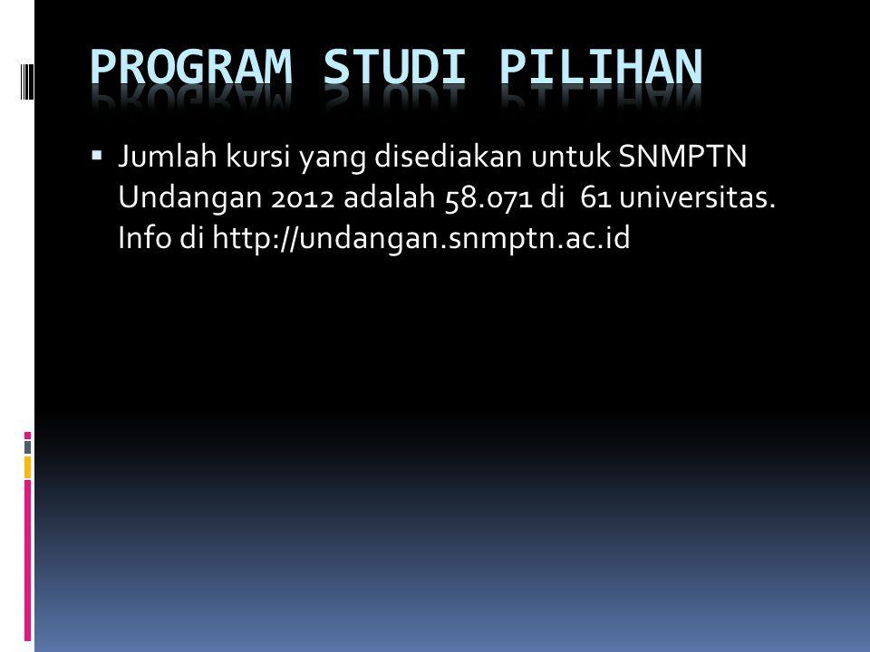 Program studi pilihan Jumlah kursi yang disediakan untuk SNMPTN Undangan 2012 adalah 58.071 di 61 universitas.
